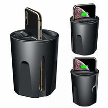 10W hızlı kablosuz şarj cihazı araba şarjı kupası iPhone 11 Pro XS XR/X/8 SAMSUNG Galaxy S9 /S8/Note10/Note9 araba kupası şarj tutucu