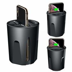 10W szybka ładowarka bezprzewodowa ładowarka samochodowa kubek dla iPhone 11 Pro XS XR/X/8 SAMSUNG Galaxy S9/S8/Note10/Note9 uchwyt do ładowania samochodu kubek