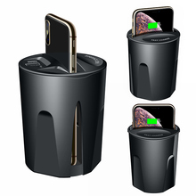 Carregador de carro rápido sem fio 10w, copo carregador para carro para iphone 11 pro xs xr/x/8 samsung galaxy suporte carregador de copo para carro s9/s8/note10/note9