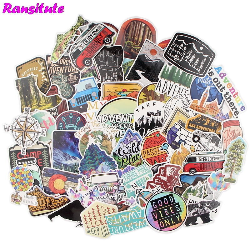 60pcs/set Outdoor Adventure Funny Children's Toy Stickers DIY Luggage Laptop Skateboard Phone Waterproof Stickers R600