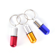 1pcs Waterproof Aluminum Pill Box Case Bottle Drug Holder Container Keychain Medicine Box Camping Equipment Camping Gadget HOT