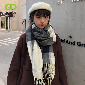 GOPLUS Women's Knitted Scarves Winter Korean Style Warm Plaid Scarves Womans Bufandas Invierno Mujer