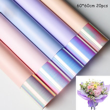 20pcs Colorful flower wrapping paper Double side Floral Two-color Magic Color Film Wrapped material
