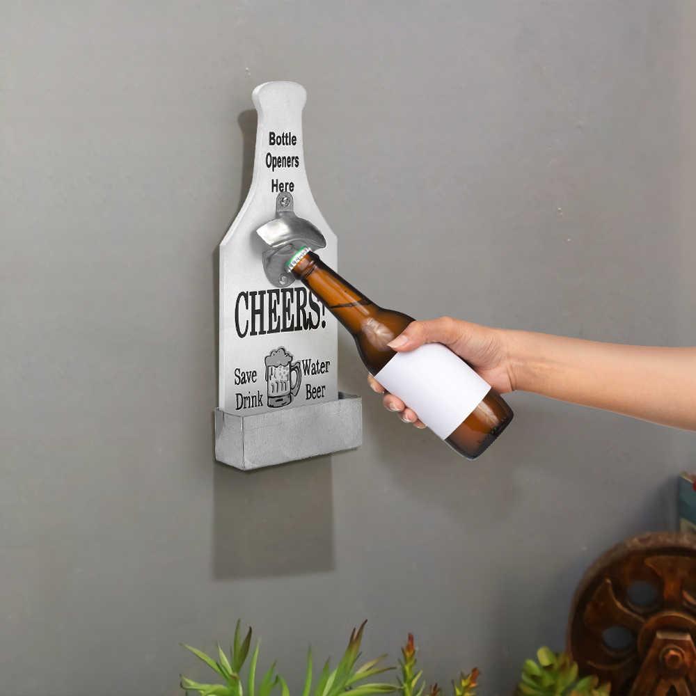 Creative ที่เปิดขวดเบียร์ Wood บาร์ร้านอาหารบ้านผนังตกแต่งไวน์ขวดครัวที่เปิดขวด
