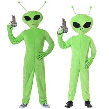 グリーンエイリアン子供アダルトファンシードレススペースため火星ハロウィン科学フィクション子供衣装衣装男性