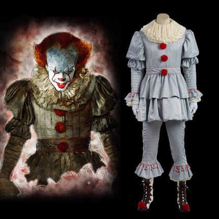 Horror Clown Posteriore Per Anima delle Stephen King Pennywise Horror Clown Clown Maschera di Halloween COS Vestiti Costume di Scena