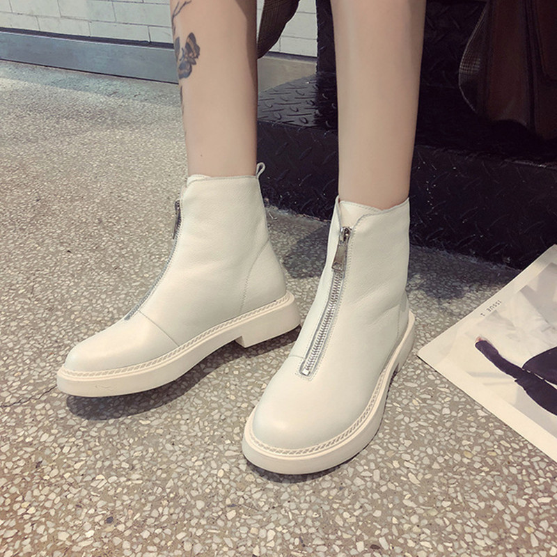 Fashion and ankle boots winter leather and pu women 39 s boots work shoes round head shoes zipper women 39 s shoes new women 39 s shoes in Ankle Boots from Shoes
