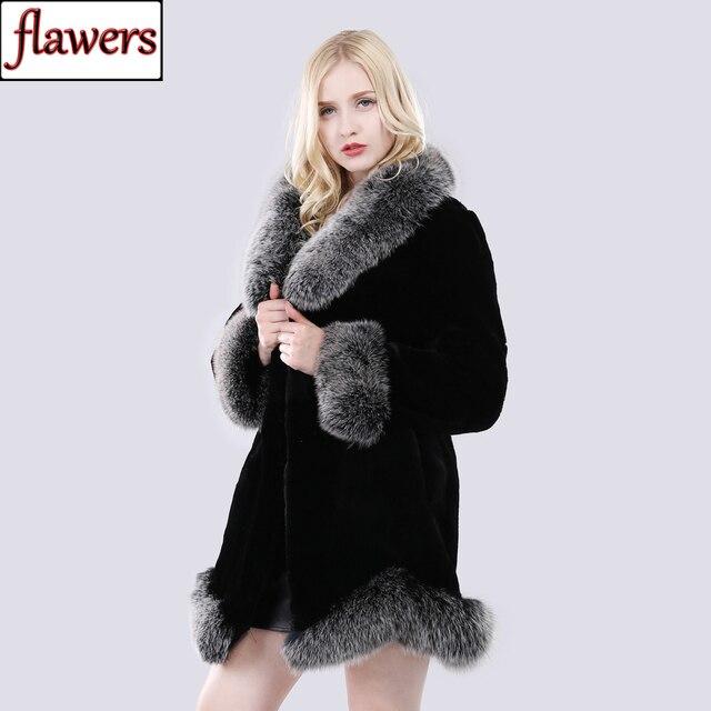 חדש חורף נשים טבעי ארוך סגנון אמיתי רקס ארנב פרווה מעיל רוסיה ליידי חם אופנה רקס ארנב פרווה מעיל עם שועל פרווה צווארון
