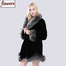 Nowe zimowe kobiet naturalne długie styl płaszcz z prawdziwego futra królika Rex rosja dama ciepłe moda Rex królik futro kurtka z futra lisa kołnierz