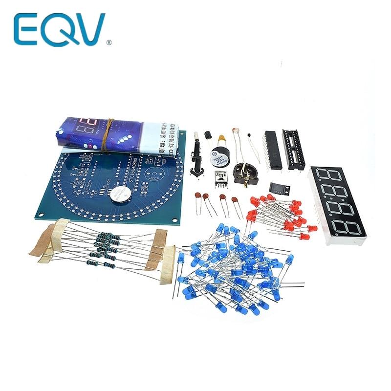 EQV DS1302 Rotating LED Display Alarm Electronic Clock Module DIY KIT LED Temperature Display