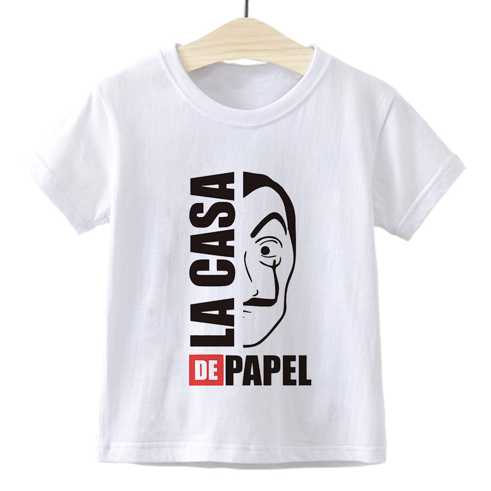 New Arrival La casa de papel Print Kids T Shirt Funny Kawaii Cartoon Top Harajuku White VOGUE Short Sleeves Girl Boys Tshirt