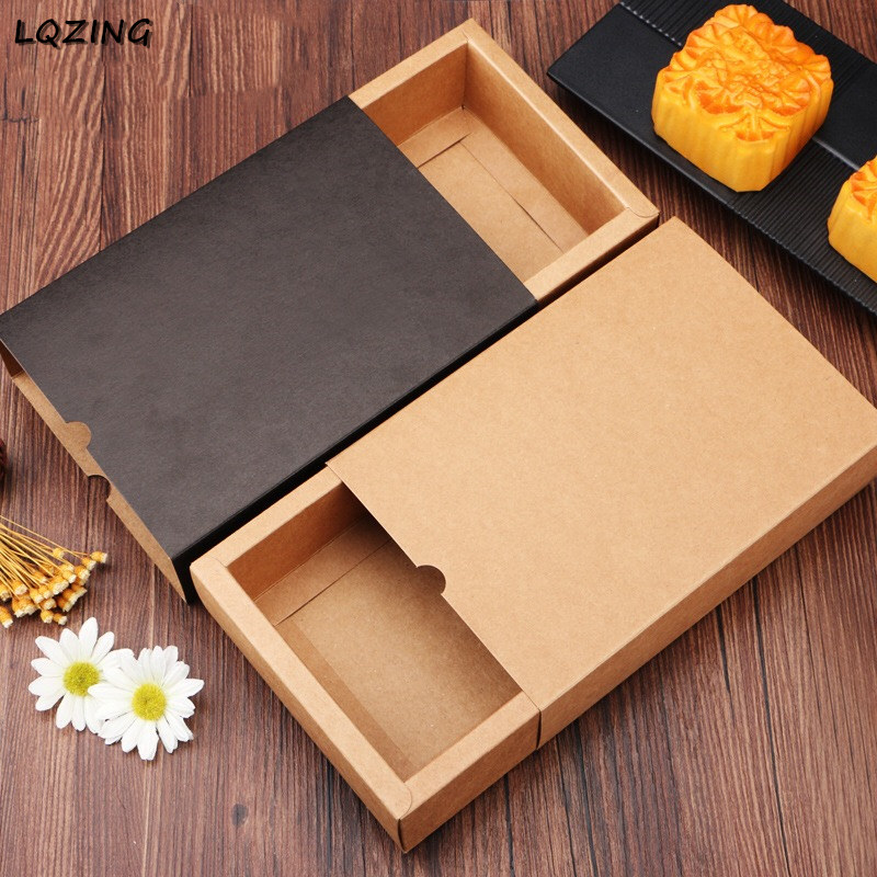 20pcs <font><b>Large</b></font> <font><b>Kraft</b></font> <font><b>Paper</b></font> Drawer Type Craft gift <font><b>Box</b></font> Coffee Color Cover Jewelry Mooncake Packaging Boxes For Wedding Party Candy image