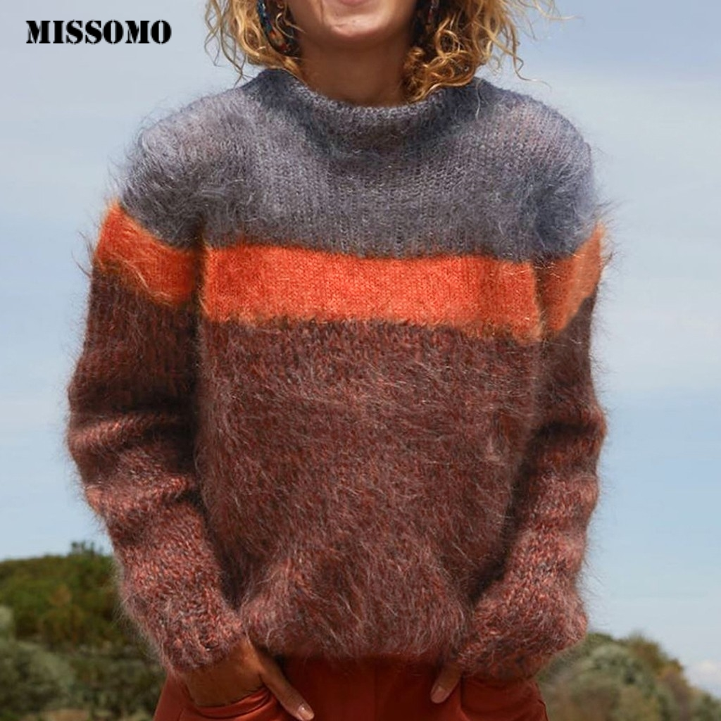 MISSOMO Sweater Women Turtleneck Color Block Long Sleeve Knitted Sweater Top Winter Clothes Women Pull Femme Nouveaute 2019 916