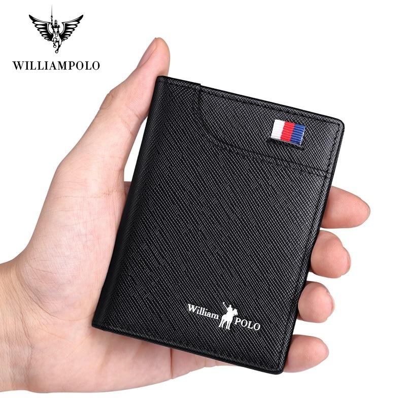 Genuine Leather Men's Wallets Thin Male Wallet Card Holder Cowskin Soft Mini Purses New Design Vintage Men Short Slim Wallet