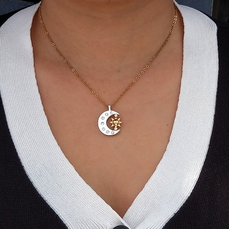 Hzew новая пара небесных золотых солнцезащитных и серебряных лунные ожерелья лучшие друзья подарок для друга мужчины женщины