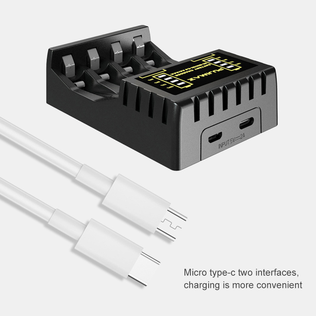 PUJIMAX 4 Slots Electric Battery Charger Intelligent Fast LED Indicator USB Charger For AA/AAA Ni-MH/Ni-Cd Rechargeable Battery 5
