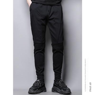 Dark cut stitching irregular design slim casual pants nine-minute chaps men's style Korean version of bound leg pants