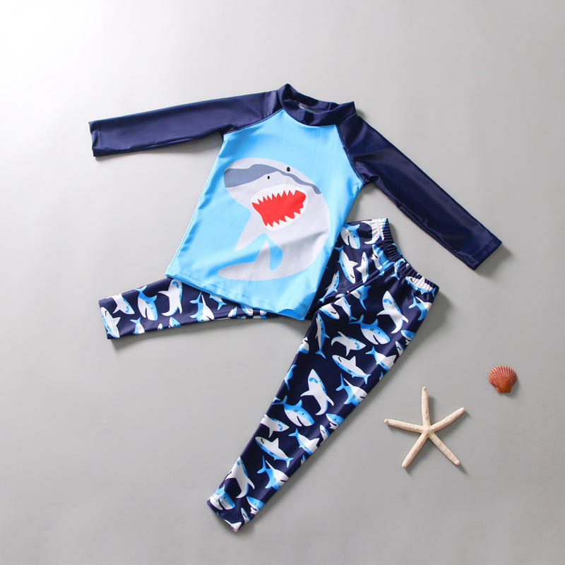 South Korea Diving Suit Children BOY'S Split Type Snorkeling Suit Long Sleeve Sharks Big Boy Sun-resistant Swimsuit Set