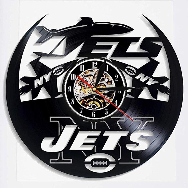 New York Jets Vinyl Record Wall Clock Modern Design American Football Team Hanging Hanging Watch Wall Clocks Home Decor