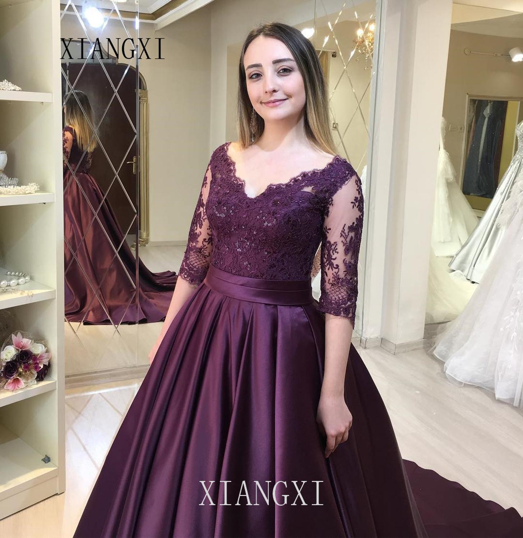 Vestidos Purple Evening Dresses Long Satin Lace Beaded Floor Length Evening Dress 2020 Formal Gowns Robe de soiree
