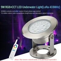 Luzes submarinas de led rgb + cct 9w  para piscinas  lagos  fontes (concha 433mhz) 12v à prova d' água ip68 paisagem lâmpada pode aplicativo/controle de voz