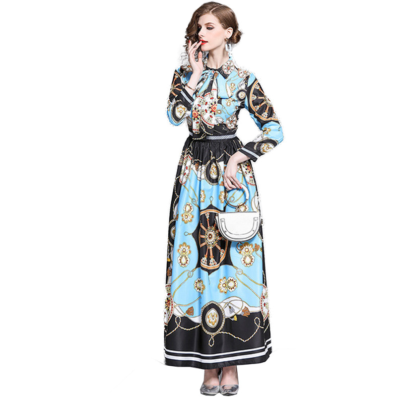 2019 OKOUFEN Autumn Lapel Tie Butterfly Long Sleeve Printed Blue Pleated Dress in Dresses from Women 39 s Clothing