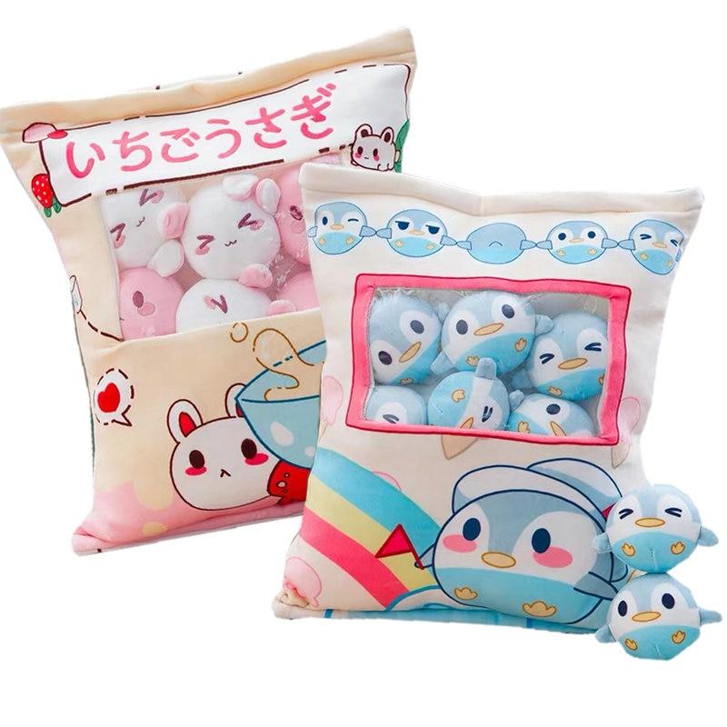 8pcs Mini Penguin Plush Toy In A Creative Pillow Stuffed Rabbit Corgi Dog Pudding Snacks Stuffed Toy In A Cushion Throw Pillow