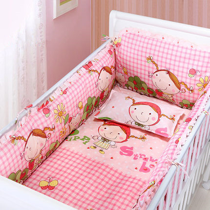 6PCS Strawberry Girl Cute Baby Bedding Set Cot Set Cushion Safety Protector Crib Bumper Sheet  (4bumper+sheet+pillow Cover)