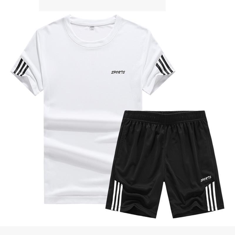 2019 Summer Sports Set Men's Casual Jogging Suits Short Sleeved T-shirt Men Athletic Clothing Training Sportswear Basketball Wea