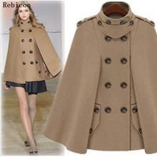 Осенне-зимняя модная женская шерстяная накидка, пальто с меховым воротником, шерстяное пальто, женское кашемировое пончо с капюшоном, пальто
