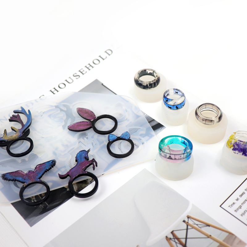 QIAOQIAO DIY Diamond Flat Shaped Ring Pendant DIY Silicone Mold Dried Flower Jewelry Accessories Tools Equipments Resin Molds