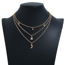 Rhinestone Stars Layered Necklace Gold Color Temperament Fashion Simple Moon All-match Pendant Necklace 2020 green pendant double layered necklace