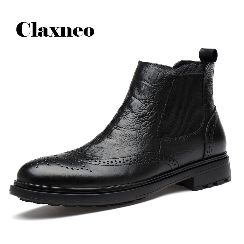 CLAXNEO Man Winter Chelsea Boots Fur Warm Male Leather Shoes Design Alligator Clax Men's Dress Boot Genuine Leather Handmade