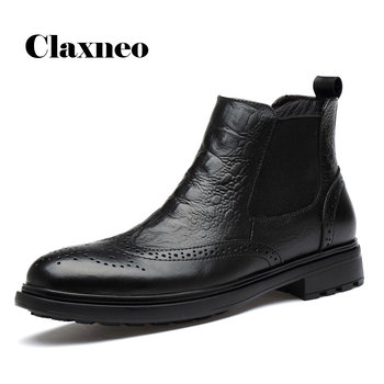 CLAXNEO Man Winter Chelsea Boots Fur Warm Male Leather Shoes Design alligator clax Men's Dress Boot Genuine Leather Handmade clax mens high boots genuine leather autumn casual motorcycle boots male shoe winter boot fur warm snow shoes