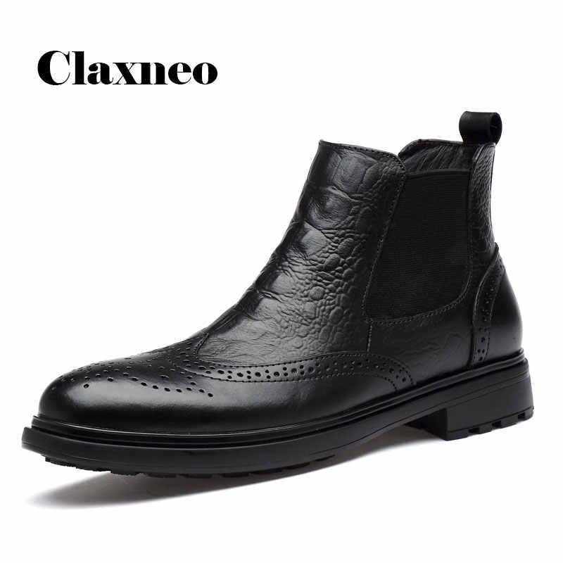 CLAXNEO Mann Winter Chelsea Stiefel Fell Warme Männliche Leder Schuhe Design alligator clax männer Kleid Boot Echtes Leder Handmade