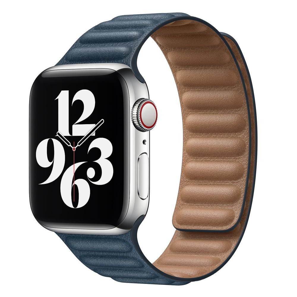 Leather Link strap For Apple watch band 44mm 40mm 38mm 42mm watchabnd original Magnetic Loop bracelet iWatch seires 3 5 4 6 SE 2