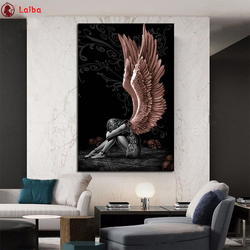 5d diy diamond painting Black and white art, angel girl, wings  mosaic diamond crystal painting full square round diamond