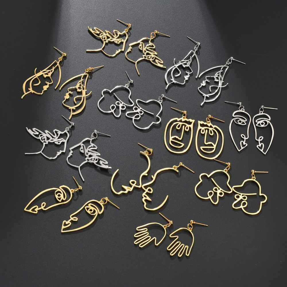 Drop SHIPPING Abstract Art Drop Earrings Gold Hand Palm Face Crystal Dangle Earrings Girls Fashion Statement Earrings For Women