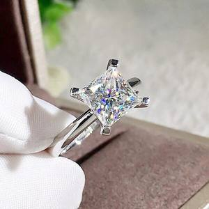 Fashion Classic Simple Square AAA Zircon Wedding Rings for Women Jewelry Wedding Engagement