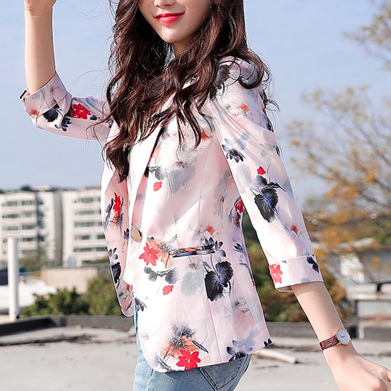 Blazer Women And Jackets 2020 Ladies Tops Button Pockets Office Lady Printing White Blazer Plus Size Tops Women Pink Tops 0542