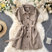 Early spring new suit jacket vest new Korean retro tooling style long vest