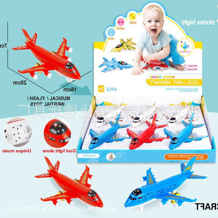 Children'S Educational Toy Cartoon Toys Inertia With Music Light Airplane (with 3 Capsules Button Cell)