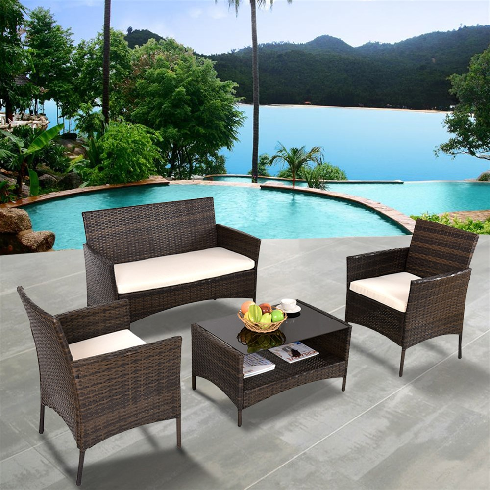 Costway 4 PCS Outdoor Patio Rattan Furniture Set Table Shelf Sofa W/ Beige Cushions