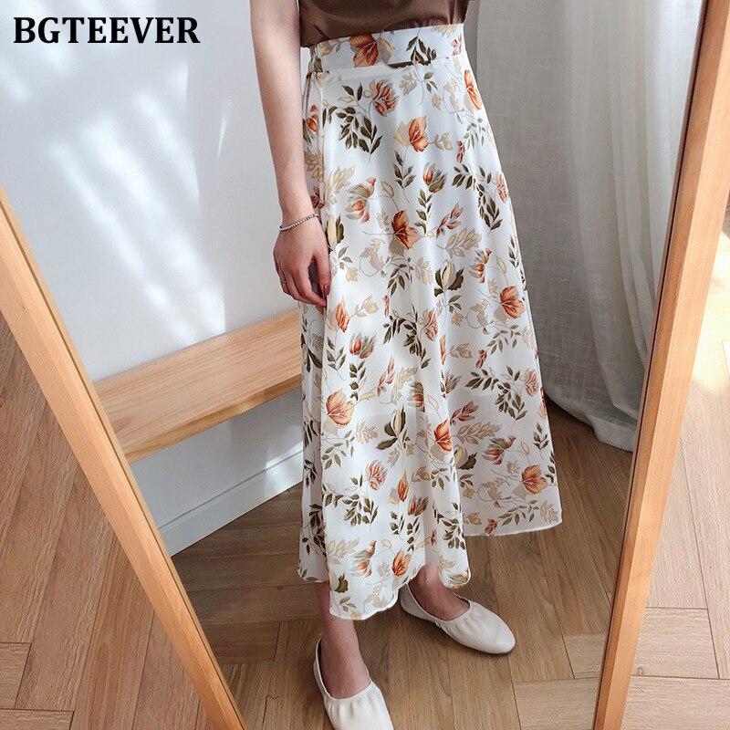 BGTEEVER Spring Summer High Waist Chiffon Women Midi Skirts Casual Floral Print Female Skirt Maxi Beach Tutu Skirt Femme 2020