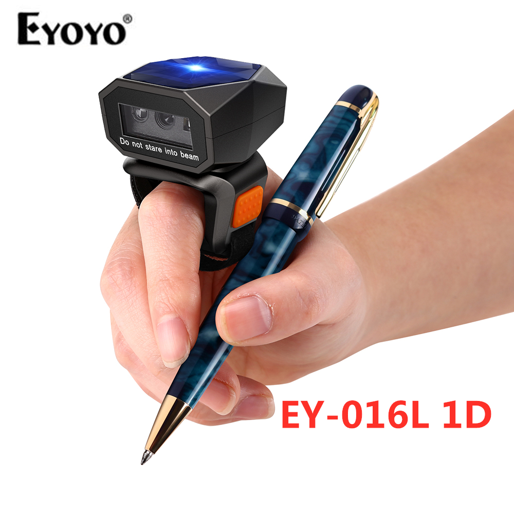 Eyoyo EY-016L 1D Wearable Ring Barcode Scanner Bluetooth 2.4GHz Wireless USB Wired Connection Mini Finger Bar Code Reader