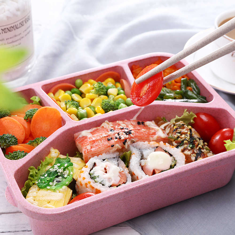 Healthy Wheat Straw Microwave Bento Lunch Box travel Picnic Food Fruit Container Storage Box For Kids Adult kitchen accessories
