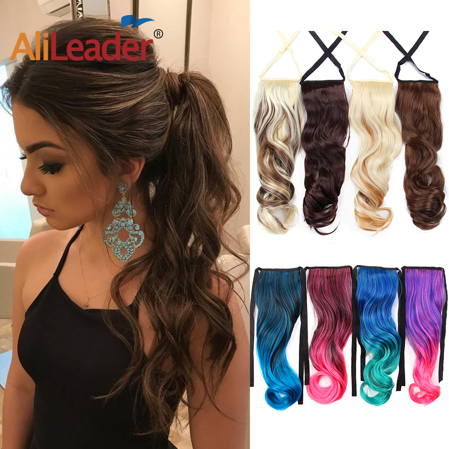 AliLeader Natural Long Curly Drawstring Ponytail Synthetic Soft Hair Ribbon Pony Tails Extensions Ties Ponytails Gray 20Inch