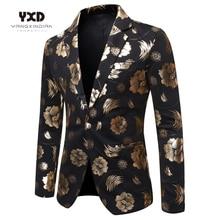 Fashion Gold Print Suit Jackets Luxury Men Brand Jacquard Slim Fit Blazer Banquet Party Stylish Dress Festival Singer Costume