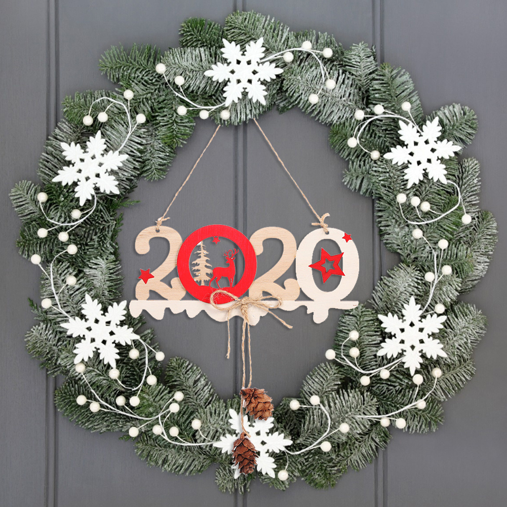 2020 Christmas Wooden Ornaments Letters Hemp Wooden Signs Christmas Tree Decorations New Year Home Decoration
