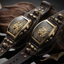 自動腕時計メンズヴィンテージブロンズスカルメカニカル腕時計クラシックカウボーイ時計本革ストラップ レロジオ masculino